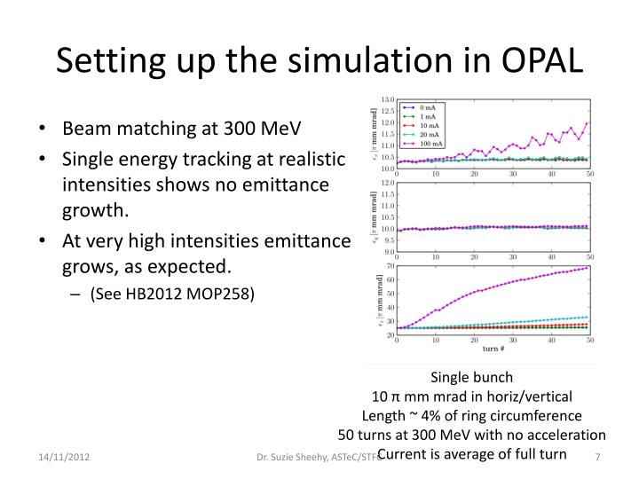 Setting up the simulation in OPAL