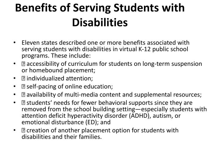Benefits of Serving Students with Disabilities
