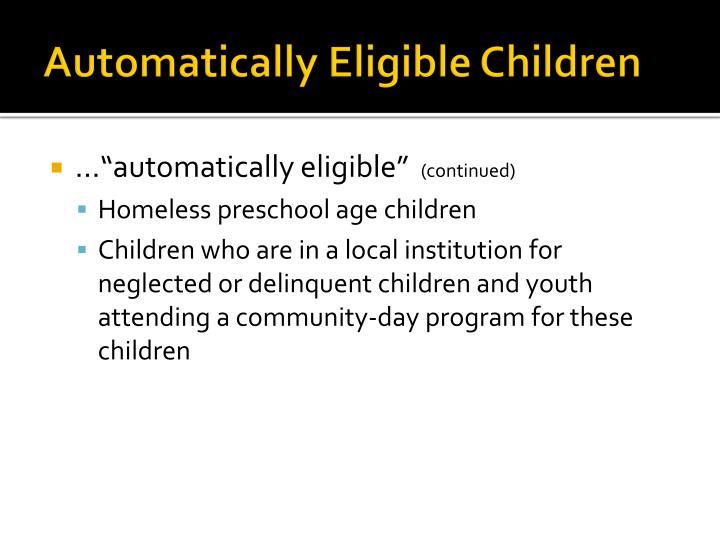 Automatically Eligible Children