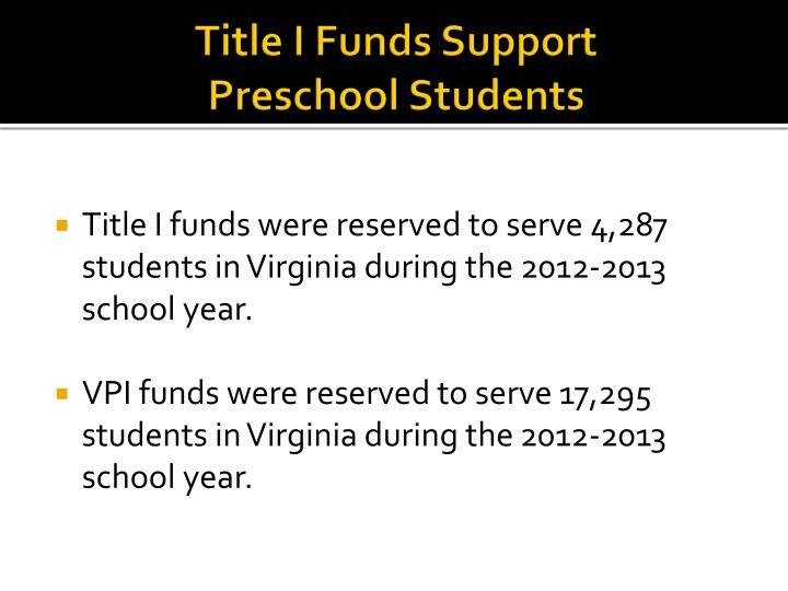 Title I Funds Support