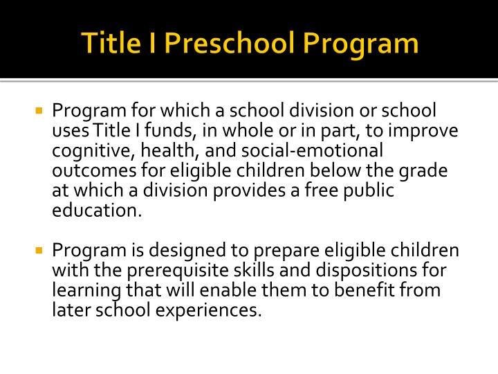 Title I Preschool Program