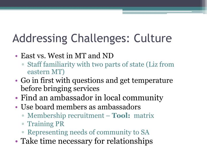 Addressing Challenges: Culture