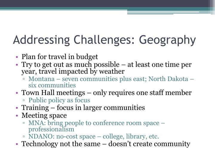 Addressing Challenges: Geography