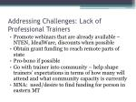 addressing challenges lack of professional trainers