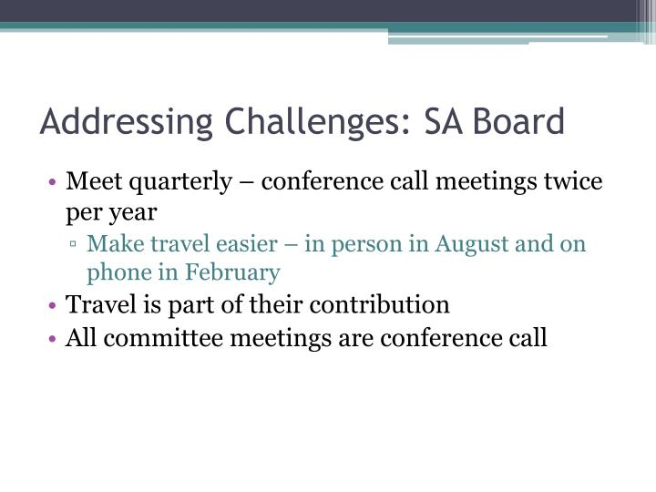 Addressing Challenges: SA Board