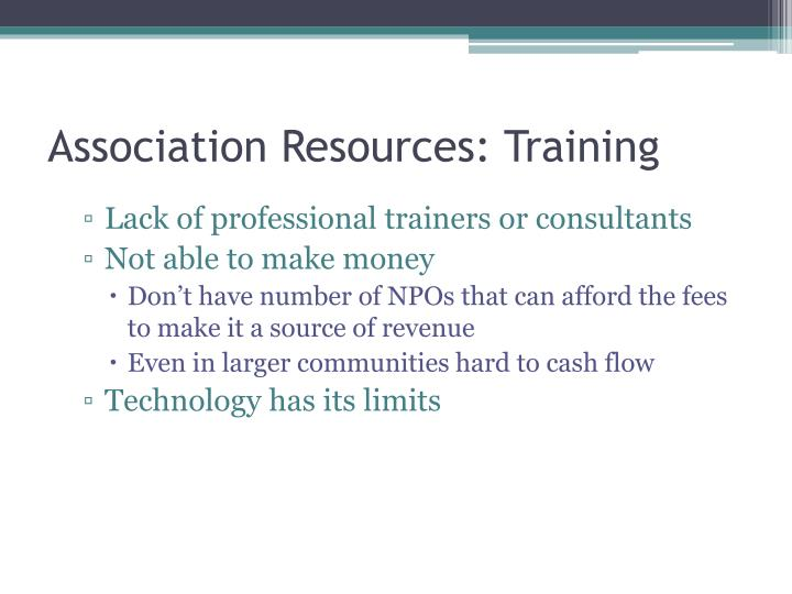 Association Resources: Training
