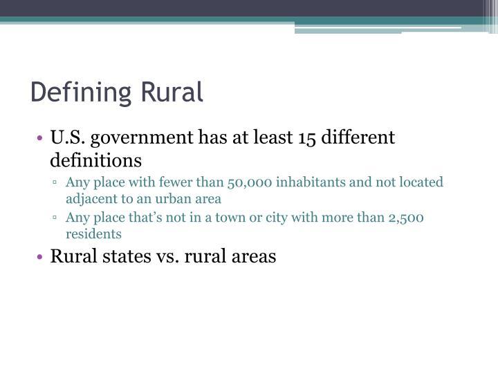 Defining Rural