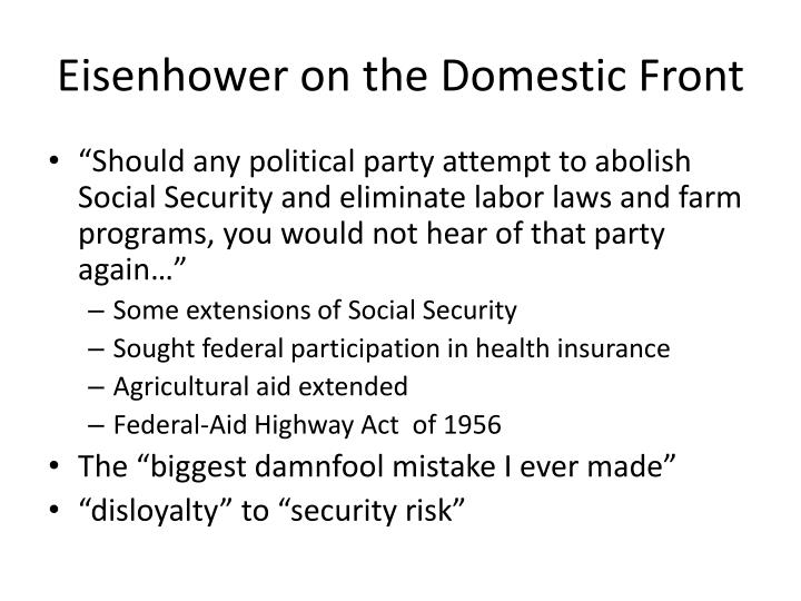 Eisenhower on the Domestic Front