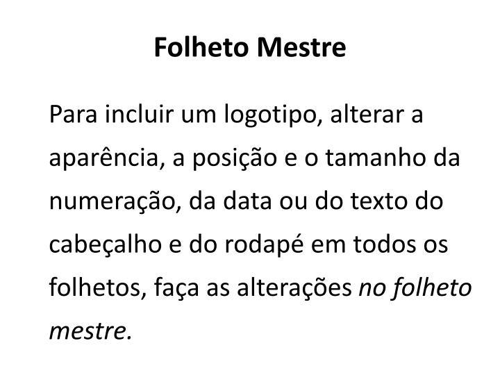 Folheto Mestre