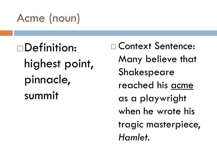 Acme (noun)