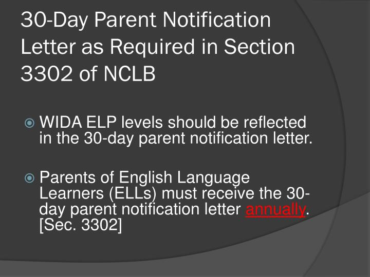 30-Day Parent Notification Letter as Required in Section 3302 of NCLB