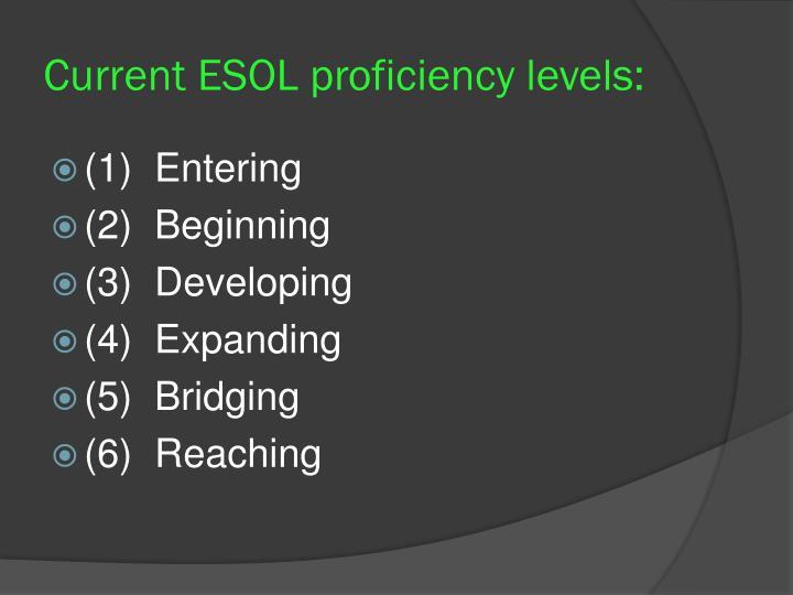 Current ESOL proficiency levels: