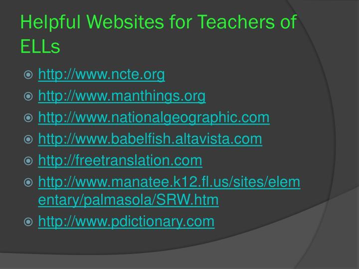 Helpful Websites for Teachers of ELLs