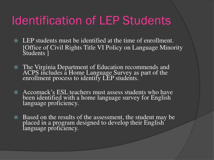 Identification of LEP Students