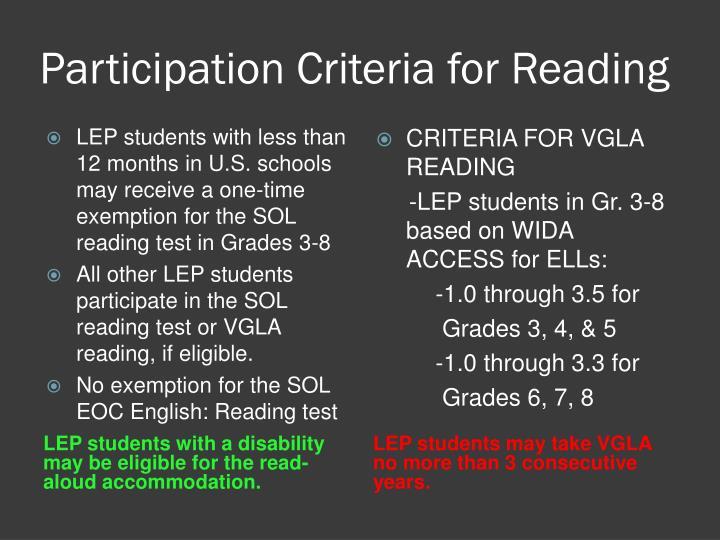 Participation Criteria for Reading