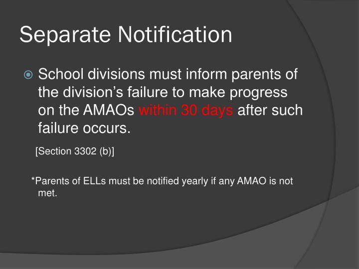 Separate Notification
