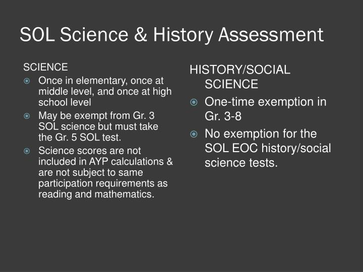 SOL Science & History Assessment