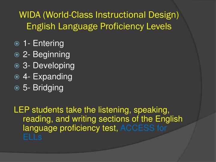 WIDA (World-Class Instructional Design) English Language Proficiency Levels