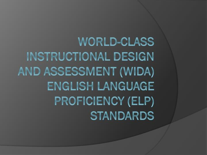 World-Class Instructional Design and Assessment (WIDA) English Language Proficiency (ELP) Standards