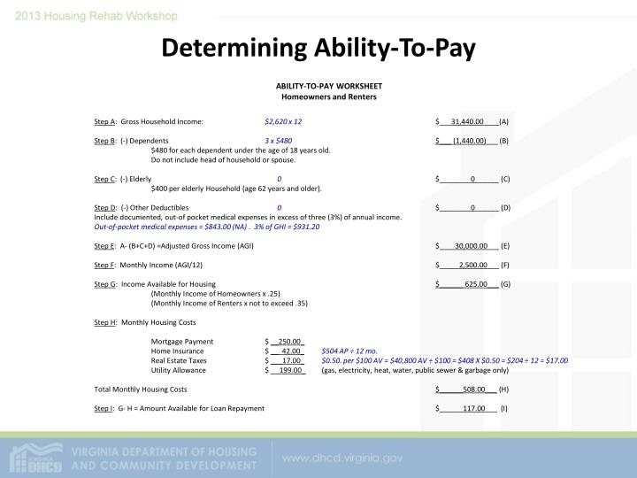 Determining Ability-To-Pay