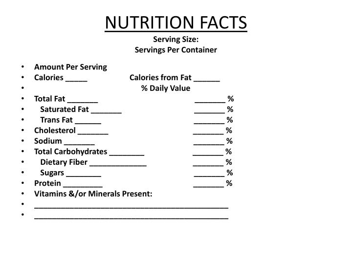 nutrition facts serving size servings per container