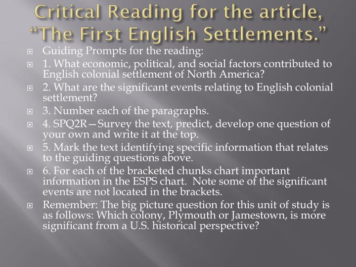 """Critical Reading for the article, """"The First English Settlements."""""""
