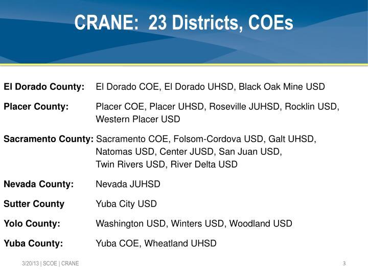 CRANE:  23 Districts, COEs