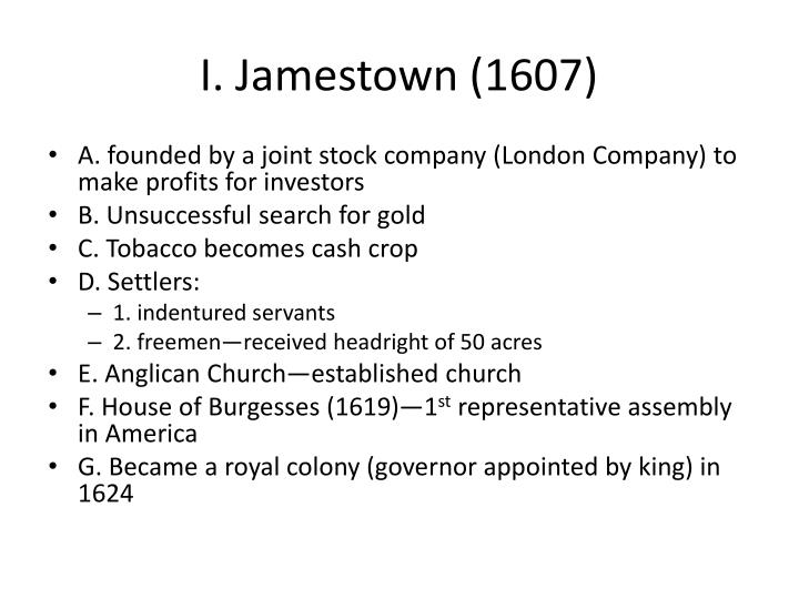 I jamestown 1607