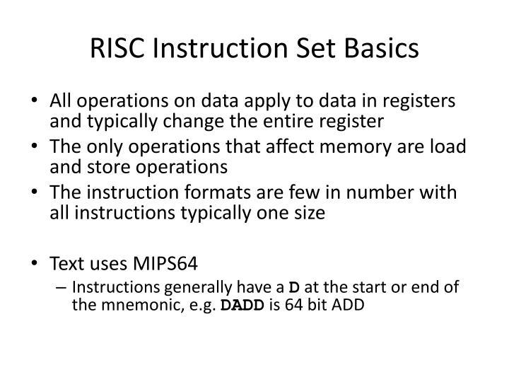 RISC Instruction Set Basics