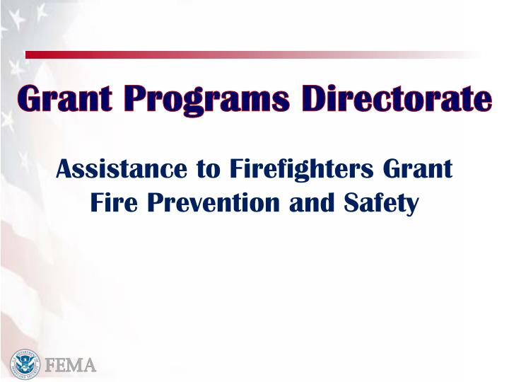 Assistance to Firefighters Grant