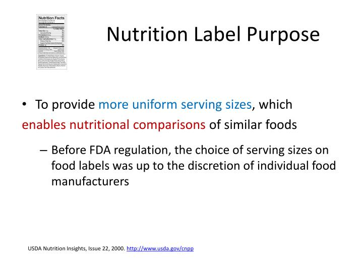 Nutrition Label Purpose