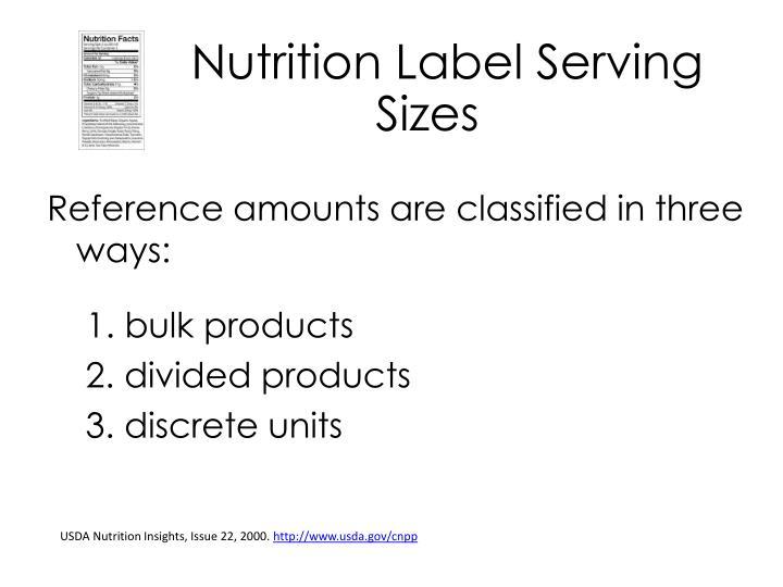Nutrition Label Serving Sizes