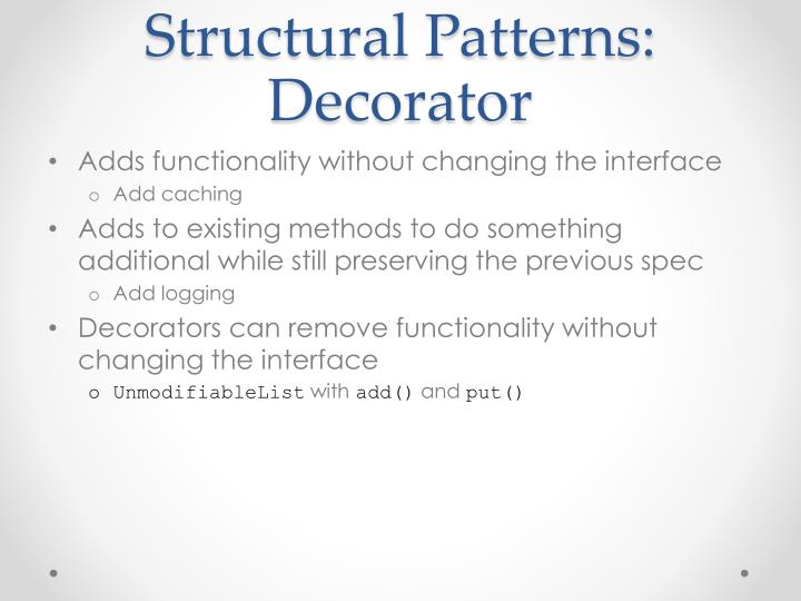 Structural Patterns: Decorator