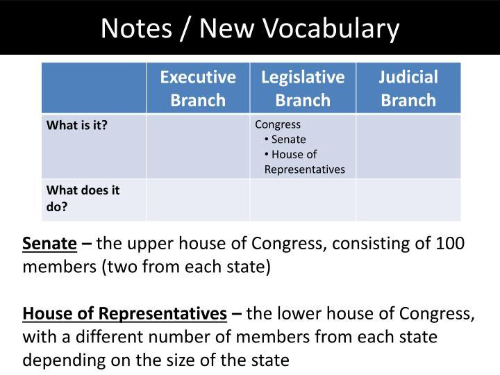Notes / New Vocabulary