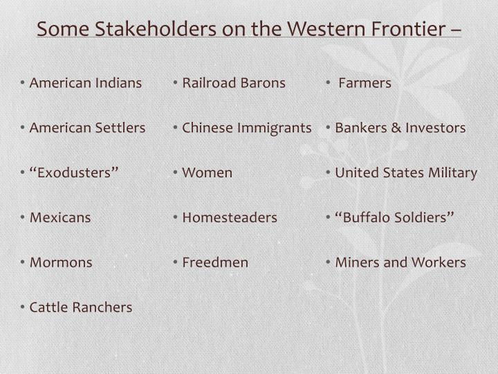 Some Stakeholders on the Western Frontier –
