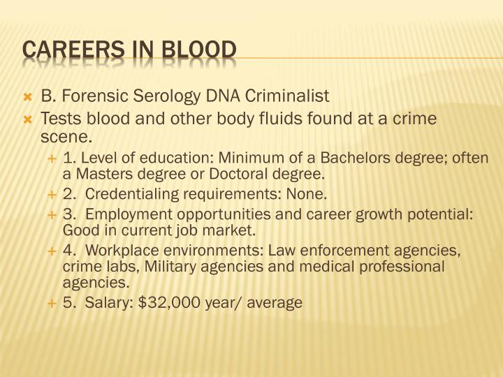B. Forensic Serology DNA Criminalist