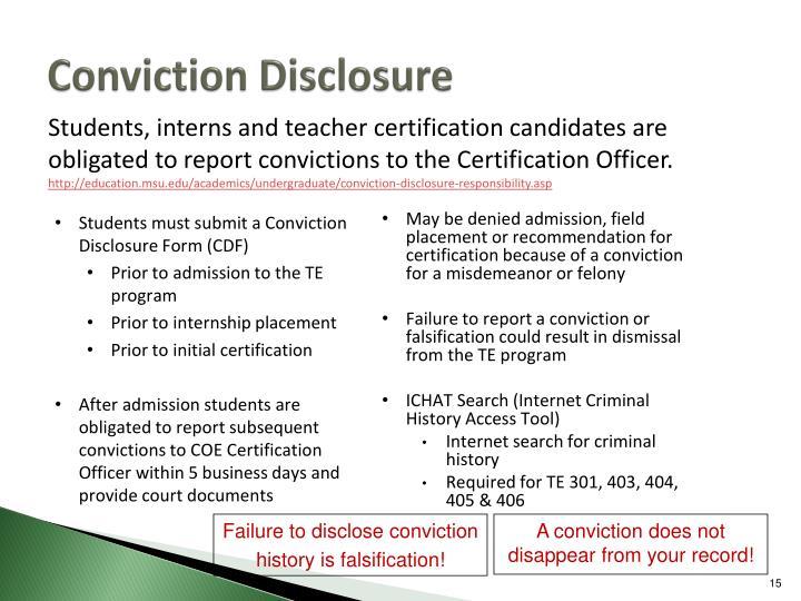 Conviction Disclosure