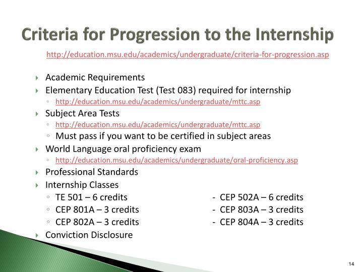 Criteria for Progression to the Internship