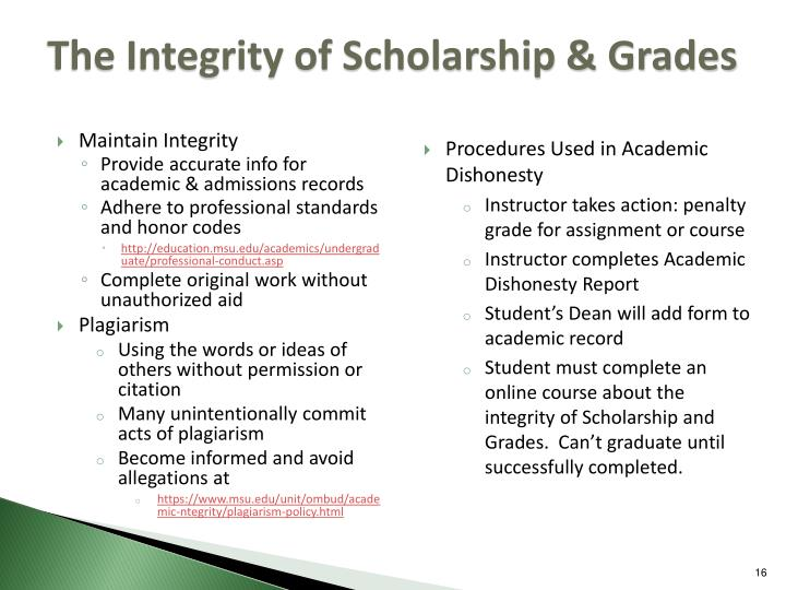 The Integrity of Scholarship & Grades