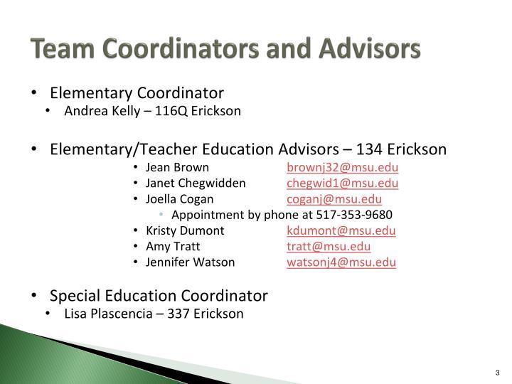 Team Coordinators and Advisors