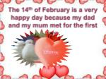 the 14 th of february is a very happy day because my dad and my mum met for the first time