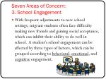 seven areas of concern 3 school engagement