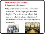 seven areas of concern 7 access to services