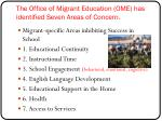 the office of migrant education ome has identified seven areas of concern