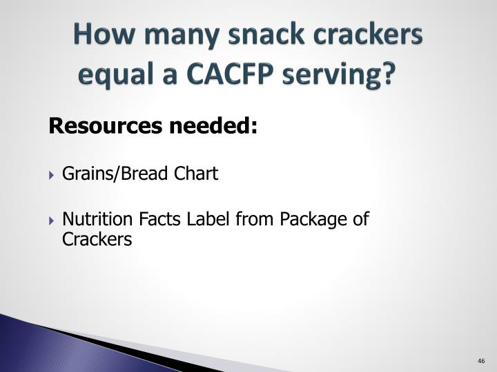 How many snack crackers equal a CACFP serving?