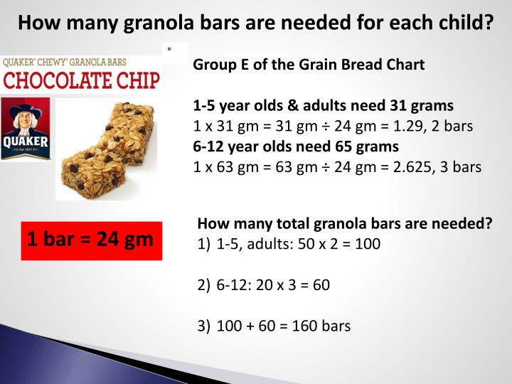 How many granola bars are needed for each child?