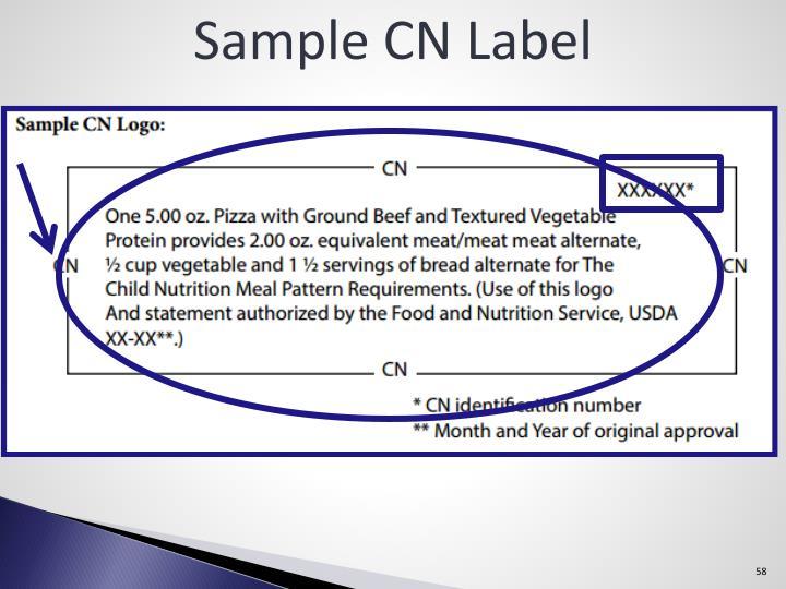 Sample CN Label
