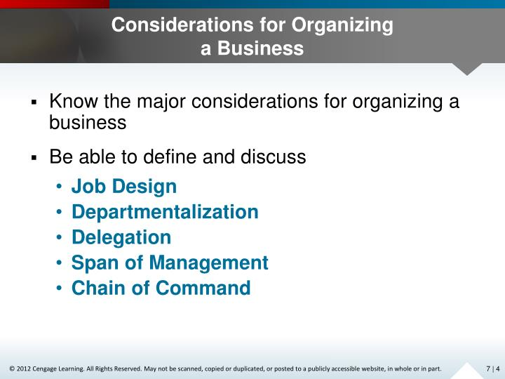 Considerations for Organizing