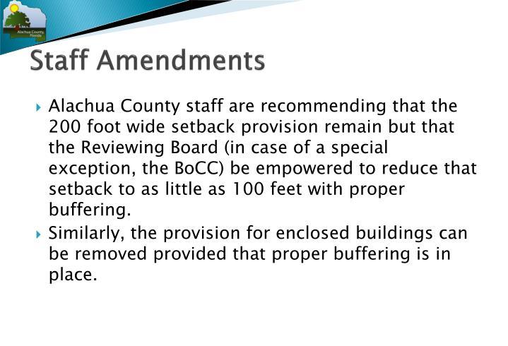 Staff Amendments