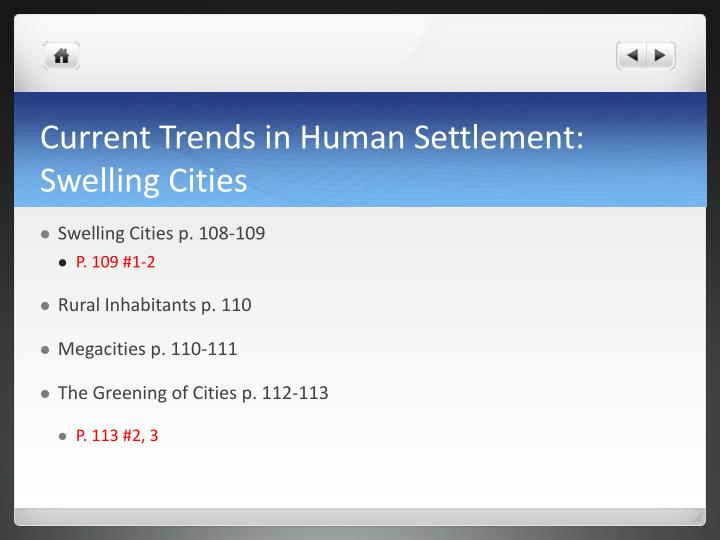 Current Trends in Human Settlement: Swelling Cities
